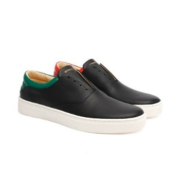 Men's Knight Black Red Green Leather Low Tops 01183-941