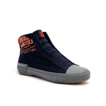 Women's Harajuku Navy Orange Canvas High Tops