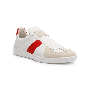 Men's Smooth White Red Leather Low Tops