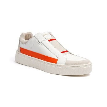 Women's Queen White Orange Leather Sneakers