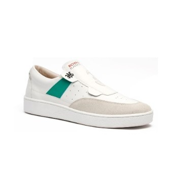 Men's Pastor White Green Leather Sneakers